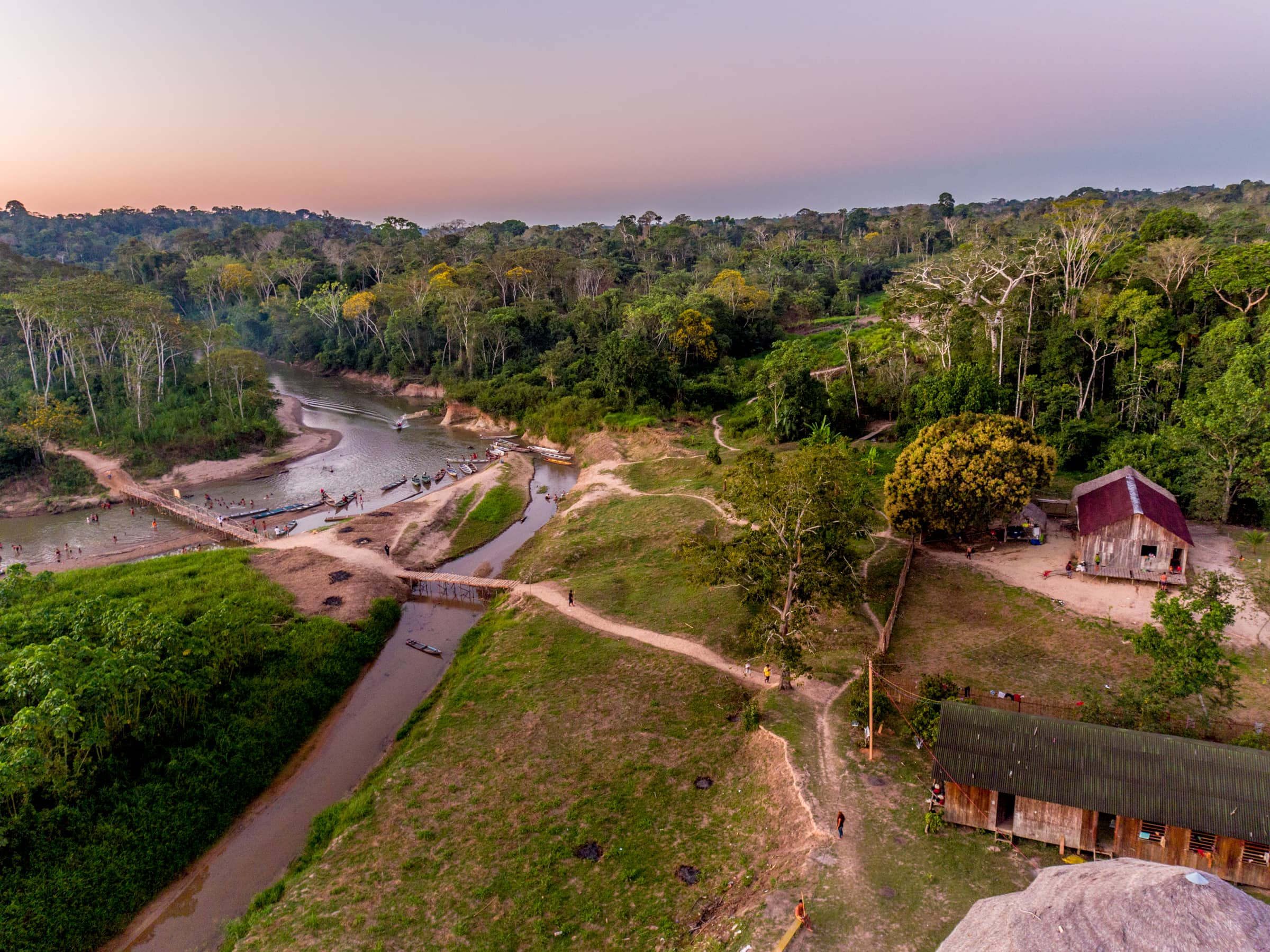Aerial view of Mutum village, one of 9 village of the Yawanawá tribe along the Gregory River